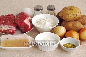 Для приготовления клёцек нужно взять картофель, муку, яйцо, репчатый лук, мякоть свинины с жиром, солёное свиное сало, сметану, перец чёрный молотый, овощную приправу и соль.