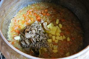 Через 30 минут, уменьшаем температуру до 170-150°C, добавляем картофель нарезанный кубиками и грибы. Готовим ещё около 1 часа, солим, перчим по вкусу.