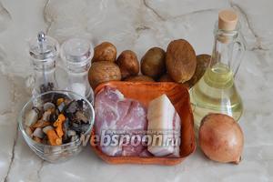 Бабку по-белорусски со свининой и грибами мы будем готовить из картофеля, мякоти свинины, сала солёного или свежего (у меня с небольшим вкраплением мяса), репчатого лука (у меня одна очень крупная луковица), грибов лесных (я использовала отварные замороженные — микс: боровики, подберезовики, подосиновики, маслята и лисички), соли, перца чёрного молотого и подсолнечного масла для смазывания горшочков.