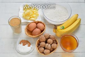 Основные продукты для медового кекса: бананы, мука пшеничная, мёд, орехи, яйца, сахар, масло сливочное и специи.