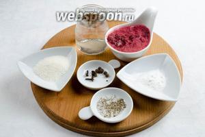 Готовим маринад. Нужно взять: пюре вишнёвое, воду, перец душистый, гвоздику, черный перец свежемолотый, сахар 2 ст. л., крахмал.