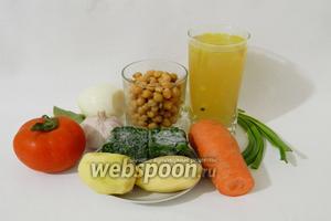 Затем приступаем к приготовлению супа. Для этого возьмём отварной или консервированный нут, шпинат, картофель, бульон или просто воду, лавровый лист, лук зелёный, лук репчатый, помидор, морковь, чеснок, масло оливковое, пасту томатную, паприку, соль, перец и другие приправы по вкусу.