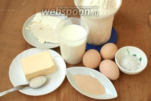 Для приготовления милинков нам понадобится мука, брынза, молоко, яйца, сливочное масло, дрожжи, сахар и соль.