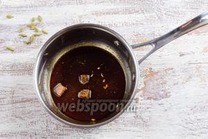 В шафрановую воду добавить сахар, 1 ст. л. кипятка, нагреть на очень медленном огне до растворения сахара. Получим сироп.
