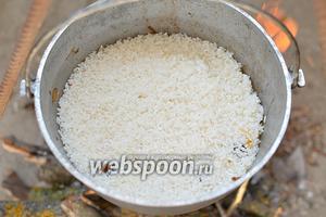 Всыпьте промытый рис и разровняйте его.