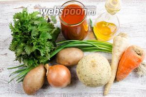 Для приготовления супа необходимо взять: картофель, морковь, корень сельдерея, корень петрушки, лук, томатный сок, чеснок, соль, растительное масло, крапиву.