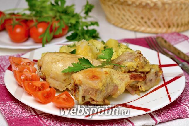 Фото Запеченные куриные голени с картофелем и сыром на пару в мультиварке