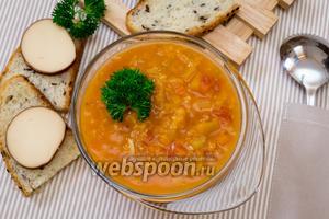 Тыквенный томатный суп с чечевицей