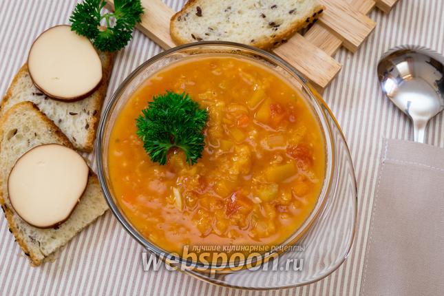 Фото Тыквенный томатный суп с чечевицей