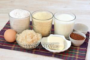 Для приготовления пирога нам понадобится сахар, манка, мука, молоко, яйца, сливочное масло, какао, разрыхлитель.