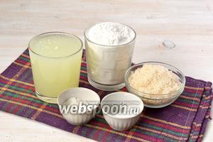 Для приготовления оладий нам понадобится сыворотка, мука, сахар, соль, сода.