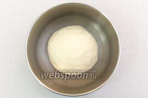 Подсыпая муку, замесим мягкое тесто. Миску смажем подсолнечным маслом, выкладываем в неё тесто. Накрываем плёнкой и оставляем в тёплом месте на 20-30 минут.