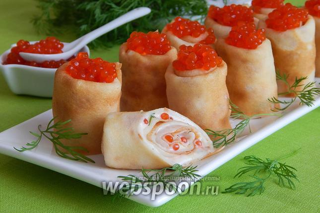 Фото Блинчики с икрой и плавленым сыром