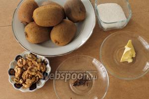 Для джема нам понадобятся киви, сахар, гвоздика, орехи и сливочное масло.
