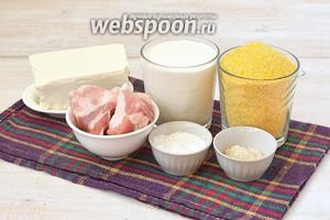 Для приготовления баноша нам понадобится кукурузная крупа мелкого помола (отличное качество для такого блюда имеет венгерская крупа), сметана, соль, сахар, грудинка, брынза. Вместо грудинки может подойти копчёное сало, шейка или щека.