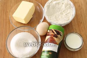 Для печений понадобятся мука, масло, сахар, яйцо, молоко, щепотка соли и корица.