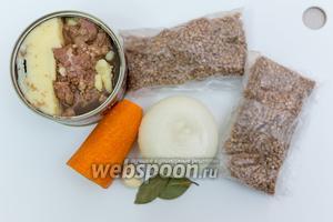 Для приготовления нам понадобятся: гречневая крупа, лук, чеснок, морковь, тушёнка, лавровый лист, соль, перец, вода.