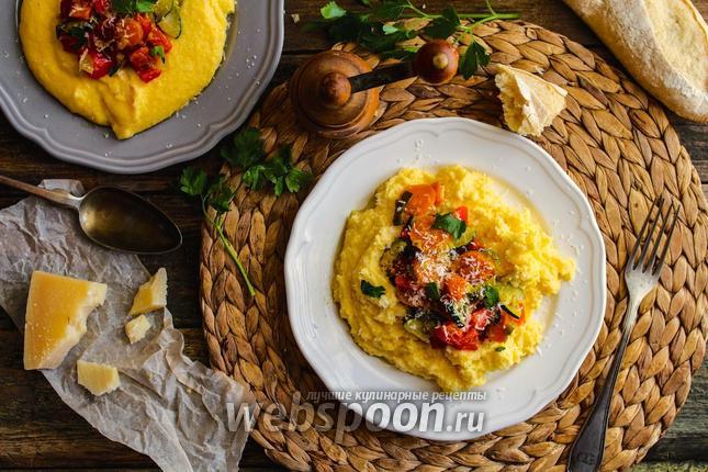 Фото Полента с жаренными овощами и пармезаном