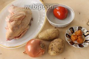Для бозбаша понадобятся курица, лук, помидор, картофель, щепотка куркумы, соль и топлёное сливочное масло.