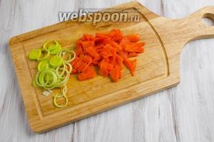 Половину моркови из бульона настрогать тонкой соломкой. 5 г лука порея нарезать тонкими кольцами. Петрушку мелко нарубить.