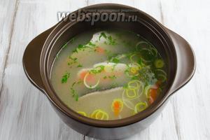 Переправить всё это в бульон с рыбой и подержать на огне ещё 2 минуты. Разлить бульон по тарелкам. Выложить по куску филе. Посыпать свежей зеленью. Подавать к обеду.