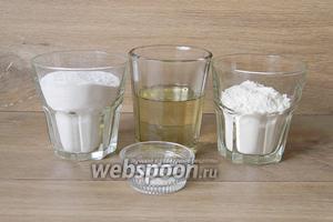 Для приготовления печенья «Шаккарляма» возьмём сахарную пудру, муку, масло подсолнечное, разрыхлитель.