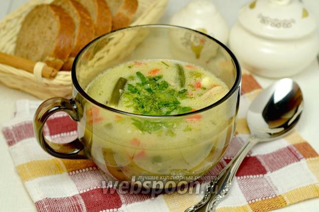 Фото Суп с овощами и плавленым сыром в мультиварке
