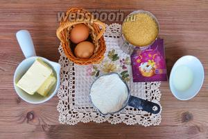 Приготовим продукты, яйца, масло, сахар, ванилин, молоко, муку.