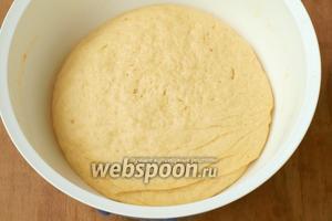 Тесто должно получиться мягким. Верх следует смазать маслом и оставить в тёплом месте на 1,5 часа.