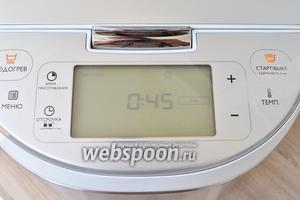 Затем, не открывая крышку, выставить режим «печь» на 45 минут при 160°C. После звукового сигнала проверить готовность деревянной палочкой.