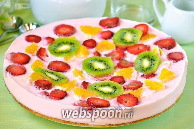 Фото Торт йогуртовый с киви, клубникой и апельсином