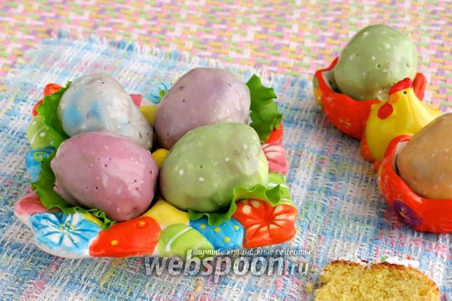 Фото Разноцветные фаршированные яйца