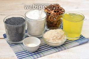 Для приготовления кекса нам понадобится мак, белки куриные — 7 штук, орехи, маргарин, изюм, мука, разрыхлитель.