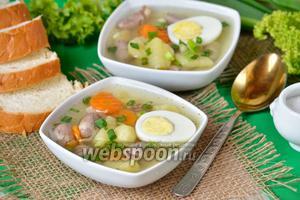 Суп с куриными сердечками и яйцами
