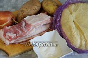 Для приготовления шанег нужно взять  дрожжевое сдобное тесто , картофель, свежее сало с мясными прослойками, лук, сметану, соль.