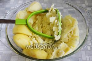 Тем временем сварился картофель, посолить его и растолочь.
