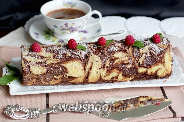 Фото Узорный рулет с шоколадно-кофейным кремом и малиной