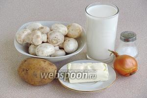 Для приготовления супа нужно взять молоко пастеризованное, воду, шампиньоны свежие (указан вес уже очищенных грибов), картофель, репчатый лук, сливочное масло и соль.