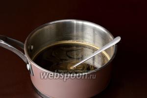 Соединить остальную воду, сахар, кофе, подготовленный желатин. Нагревать, постоянно помешивая, до растворения желатина(до 90ºC). Охладить. Добавить коньяк.