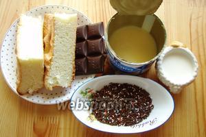Для приготовления кейк попсов нам понадобится: готовый бисквит, сгущённое молоко, шоколад, сливки 15% и декор.