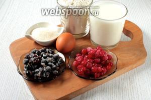 Для приготовления пирога нам понадобятся молоко, мука пшеничная, сахар, яйцо куриное, масло сливочное, сухие дрожжи, крахмал и смородина красная и чёрная.