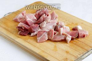 Мясо нарезать маленькими кусочками, убирая лишний жир.
