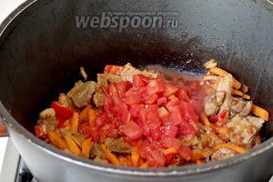 Затем наступает очередь помидор. Помидоры можно заменить томатной пастой, разведя её водой. Если слишком чувствуется кислота, то вместе с помидорами нужно добавить и сахар (1 ч.л. или около того).
