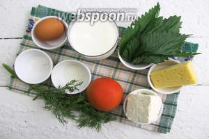 Для приготовления запеканки возьмём молоко, яйцо куриное, муку пшеничную, масло сливочное, сахар, соль, крапиву (листики), брынзу, сыр твёрдый, помидор, сметану, укроп, панировочные сухари.
