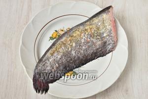 Я сразу купила целого сома, чтобы приготовить сразу несколько блюд. Для того, чтобы приготовить шашлык, взяла хвост сома. Всего рыба весила 5 кг. Можно взять 1-2 килограмма.
