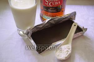 Для приготовления данного напитка подготовьте все продукты: шоколад чёрный (с содержанием какао выше 75%), тёмный ром, молоко 2,6-3% жирности, картофельный крахмал.