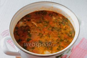 Густой, ароматный, в меру острый и очень вкусный суп харчо готов. Приятного аппетита!