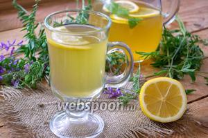 Домашний лимонад с зелёным чаем и мятой