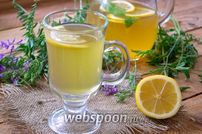 Фото Домашний лимонад с зелёным чаем и мятой