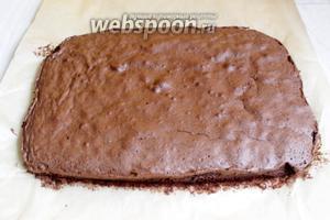 Берём форму 20х30 см. Застилаем бумагой и выливаем наше тесто. Ставим в духовку на 20 минут при 180 °C.